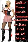 LADIES PIRATE WENCH CARRIBEAN Fancy Dress Costume 8 10 12 14 16 18