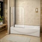 Aica Pivot 1400mm Height Bath Shower Screen Single/Double 6mm Glass Door Panel