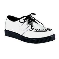 DEMONIA CREEPER-602 Men's Goth Punk Classic Casual White Leather Creepers Shoes
