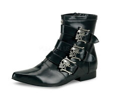 DEMONIA BROGUE-06  Men's Punk Gothic Skull Buckle Pointed Toe Ankle Boots Shoes