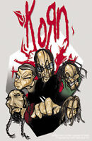 New, Genuine KORN - Cartoon Heads VINYL STICKER Decal