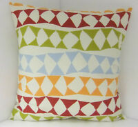 BRAND NEW  60'S DESIGN CUSHION COVERS DUCK EGG BLUE RED GREEN ORANGE TRIANGLES