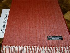 NEW 100% CASHMERE Red / White HerringBone Check Plaid Scarf Made in SCOTLAND
