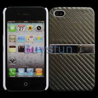 Stylish Carbon Fiber Silver Hard Cover Stand Case w/ Chrome for iPhone 4 4G 4S