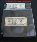 (25) BCW 4 pocket ALBUM PAGE for Std US Currency Notes Dollar Bills - FREE SHIP