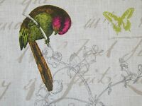 Designer Fabric French Linen Garden Birds Script White Curtain Upholstery