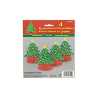 "4 x GOLDEN CHRISTMAS - 6"" Mini Honeycomb Christmas Party Decorations - Trees"