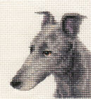 BLUE GREYHOUND dog ~ Full counted cross stitch kit, all materials included