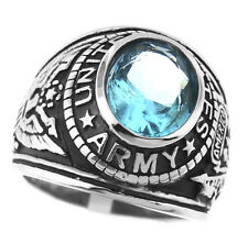 Aqua Marine Stone US Army Military Silver Stainless Steel Mens Ring