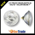 "2 X HANSA TRUCK SEALED BEAM 178mm 24V 75/50W CONVEX 7"" HI/LOW BEAM HEADLIGHTS"