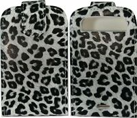 Black Leopard Print Leather Flip Case Cover Pouch for BlackBerry 9900 9930 Bold