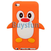 Orange Cute Lovely Penguin Silicone Cover Case For Apple iPod Touch 4 4G 4th