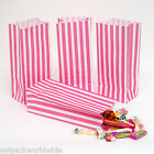 100x (PICK AND MIX BAGS) Pink Candy Stripe Sweet Party Paper Bags - 10cm x 24cm