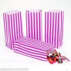 50x (PICK AND MIX BAGS) PURPLE Candy Stripe Sweet Party Paper Bags - 10cm x 24cm
