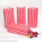 100x (PICK AND MIX BAGS) RED Candy Stripe Sweet Party Paper Bags - 10cm x 24cm