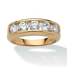 PalmBeach Jewelry Men's 2.50 TCW CZ Band 18k Gold over .925 Sterling Silver