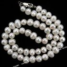 1x 110228 New White Genuine Round Freshwater Pearl Beads Lobster Necklace 45cm