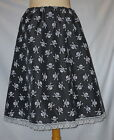BLACK RED WHITE SKULLS A LINE GOTHIC DRESS SKIRT PUNK HALLOWEEN SIZE 8 - 22