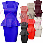 New Women Ladies Square Neck Zip Peplum Frill Dress Bodycon Black Dresses Skirt