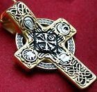 RUSSIAN GREEK ORTHODOX GOLGOTHA CROSS, SILVER 925+999 GOLD. CHROME MATTE. 15.2g