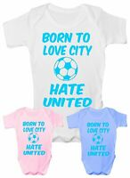 Love Man City Hate Man Utd Football Funny Babygrow Vest Gift  Baby Clothing