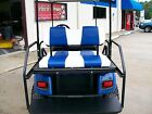 Club Car Precedent Golf Cart Deluxe™ Vinyl Seat Covers-Staple On(Whte/Blue Chip)