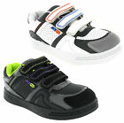 New Boys Kids Black White Velcro Skate Style Mercury Trainers Shoes Size 10-2 UK