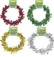 20ft Christmas Star Wire FOIL GARLAND - Red Green Silver Gold Party Decorations