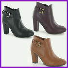 WHOLESALE Ladies Mid Heel Back Buckle Strap Ankle Boot Sizes 3-8 x14prs F5947