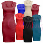 Women Ladies Sleeveless Square Neck Dress Bodycon Zip Top Dresses Black Skirt