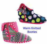 NEW WOMENS GIRLS FUNKY COLOUR KNITTED FUR WARM COSY SLIPPERS BOOTIES SIZE 3-8 UK