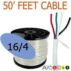 50 Feet 16/4, 16 Gauge 4 Conductor Premium Speaker Wire Cable FT4 UL AWG CL3