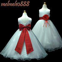 UKMD59B Red Christmas Pageant Party Wedding Flower Girls Dress Size 1 to 13