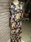 Women's Vintage 60's 70's Pleated Front Floral Jersey Knit Caftan Dress M