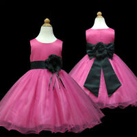 UKMD58 Black Formal Occasion Wedding Pageant Baby Flower Girls Dress 1 to 13 Yrs