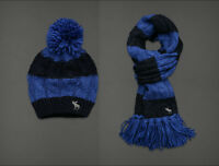 NWT ABERCROMBIE & FITCH A&F Classic Winter Knit SET Comfy Scarf Hat Blue Stripe