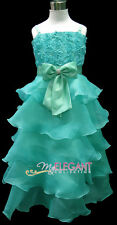 Green Rosette Pageant Children Wedding Flower Girl Party Dress Long Gown 2-13 Yr
