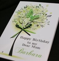 LARGE Handmade Personalised GREEN TREE Birthday Card16th 21st 20th 30th 40th..