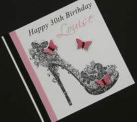Personalised Handmade Pink Shoe Birthday Card 16th,18th,21st,30th,40th,50th,60th