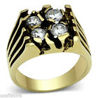 Four Clear CZ Gold EP Mens Stainless Steel Ring