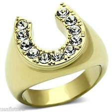 Horse Shoe Lucky Crystal Stones Gold EP Mens Stainless Steel Ring