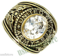 Clear Oval Shape April Stone US Army Military Gold EP Mens Ring