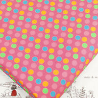 FQ - 8mm MULTICOLOURED RETRO POLKA DOT SPOT on PINK 100% COTTON FABRIC Dress D14