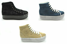 a13 Jc Play by Jeffrey Campbell scarpe donna sneakers zeppa HOMG SUEDE WASH