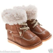 Little Blue Lamb Boys or Girls Tan + Cream Fleece Lined Squeaky Boots / Shoes