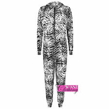 New Women Ladies Zebra Animal Print Onesie Hoody Top All In One Jumpsuit Onesies