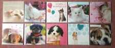 BIRTHDAY CARD ~ Cute Kittens Cat or Cute Puppy Dog ~ Square Card FREE P&P