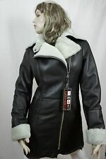 NEW WOMEN 100% GENUINE REAL SHEARLING LEATHER BROWN COAT JACKET FUR, XS-5XL, NWT
