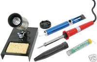 SOLDERING IRON KIT - with Stand, Desolder Pump & Solder