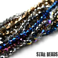 FACETED BICONE CRYSTAL GLASS BEADS PICK METALLIC COLOUR & SIZE 4MM,6MM,8MM